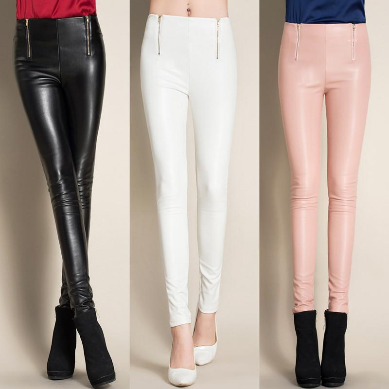 New 2016 Fashion Autumn Skinny Leather Trousers Women Pink Black White Pencil Pants Velvet  PU Leather Leggings Female Outwear