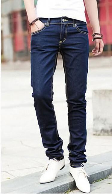 New 2017 Fashion Pencil Pants Men's Jeans Slim Fit Straight Trousers Straight Leg Size 28-34 black and bule Free shipping