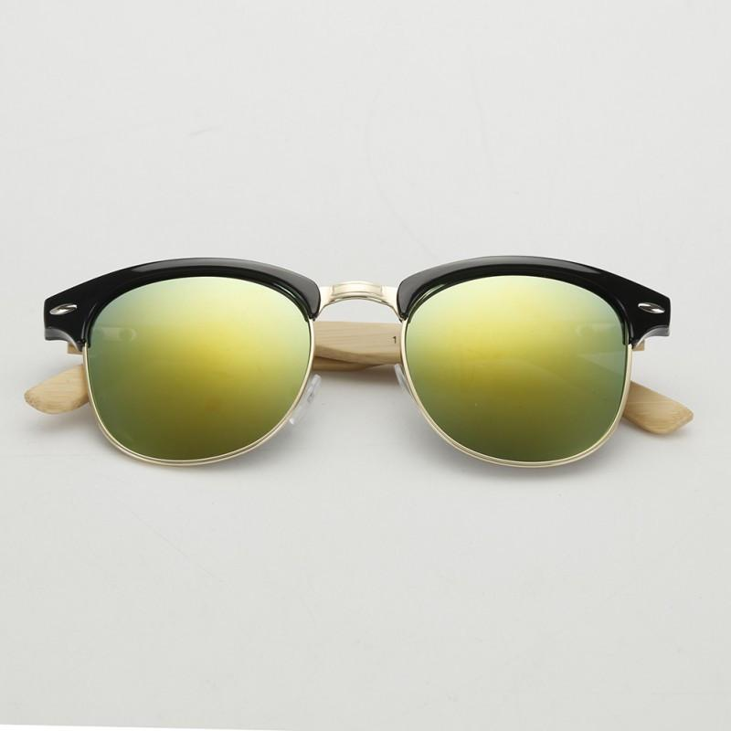 New Arrival Men Women Half-frame Sunglasses UV400 Protection Shades Bamboo Leg Glasses