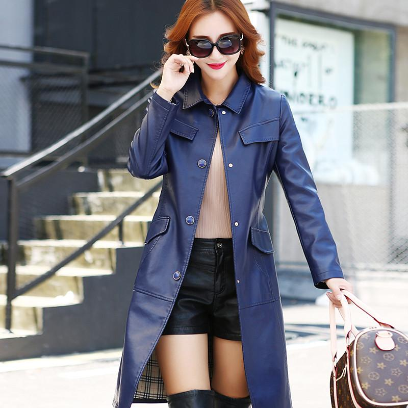 New Chinese style Femme Leather Coat Jaqueta De Couro Feminina Women Long Leather Coat turn-down Collar PU Leather Trench