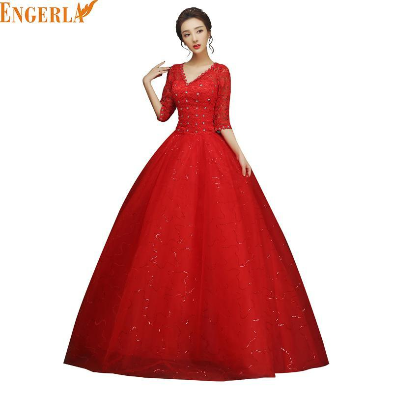 New Design Half Sleeve Wedding Dress V-neck Ball Gown Simple Luxury ...