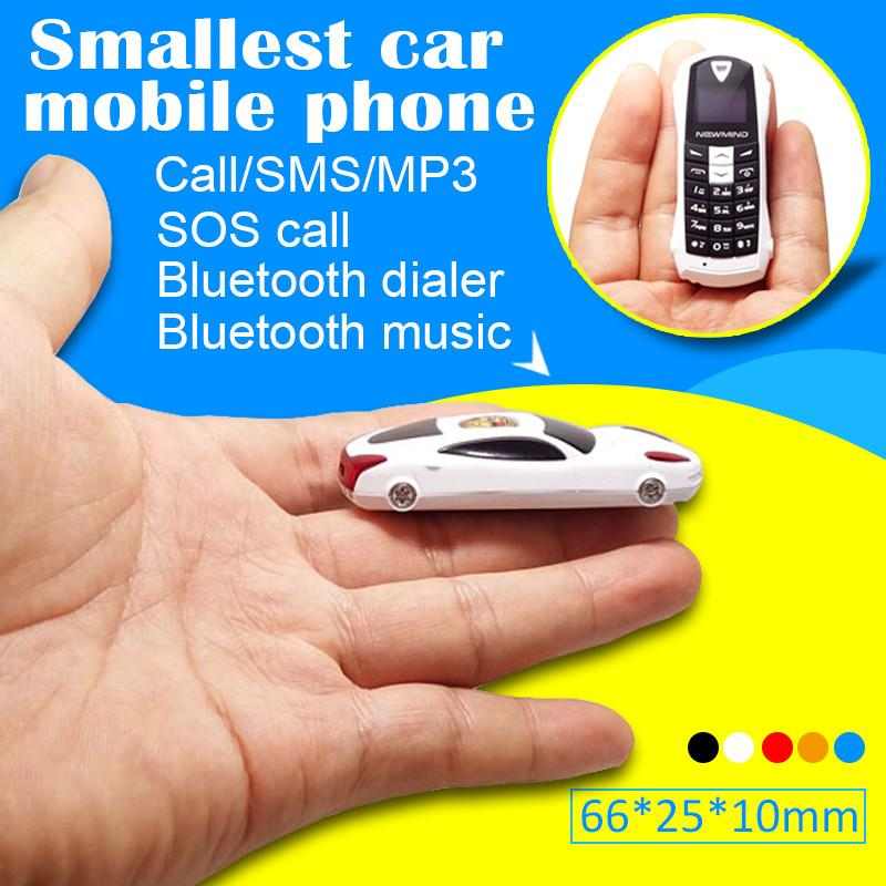 Newmind F1 Qual-band Smallest mini cell phone Car model earphone phone handset bluetooth 3.0 dialer mp3 FM small phone  P097