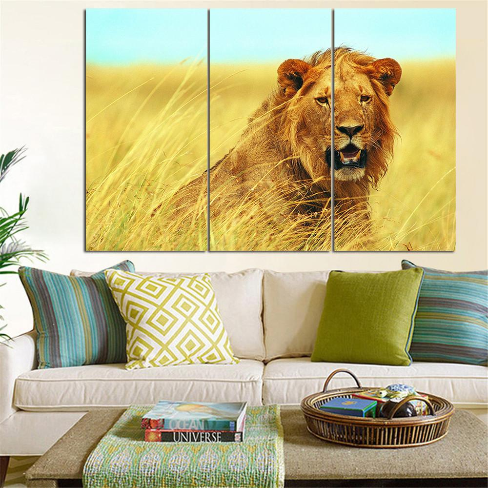 No Frame Animal Oil Painting Lion King Posters Wall Art and Prints ...