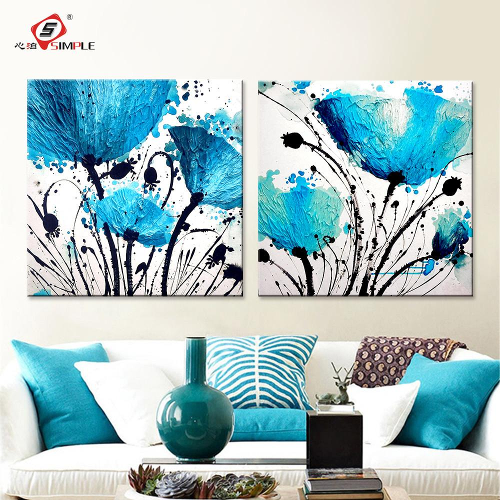 Oil painting wall art canvas prints abstract blue flowers modern oil painting wall art canvas prints abstract blue flowers modern modular wall pictures for living room izmirmasajfo