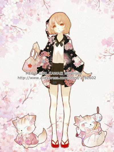 """Onegai Neko"" Praying Cat Women's Japanese Yukata Style Kawaii Cherry Cat Trench Cute Lolita Loose Outwear 4 Colors - Jetcube"