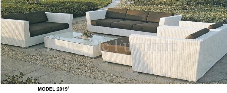 Outdoor White Wicker Sofa Set Furniture With Cushions Design   Jetcube