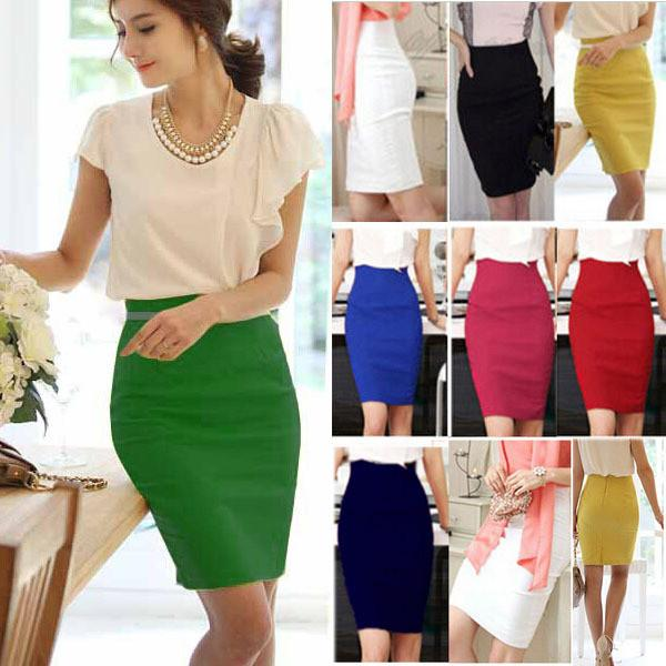 Pencil Skirt 2017 Women Plus Size High Waist Slim Hips Candy Color Formal Saias Feminino Lady Classic Knee Length Office Skirts
