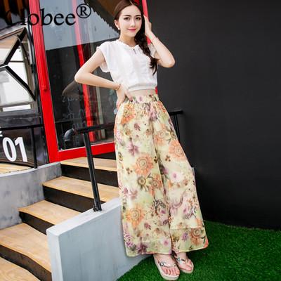Plus Size Summer Wide Leg Pants 2017 Women Floral Printed Chiffon Pants Elastic High Waist Elegant Sexy femme Trousers WR812