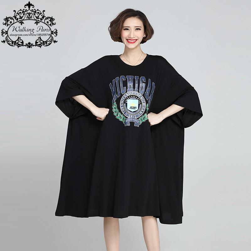 Plus Size Women T-Shirt Summer Cotton Pattern Print Oversize Tops Casual Fashion Female Tshirt Dress Batwing Sleeve Big Size 6XL