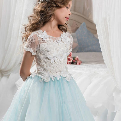 Pretty flower girl dresses with butterfly lace short sleeve ball pretty flower girl dresses with butterfly lace short sleeve ball gown kids evening gowns white and mightylinksfo