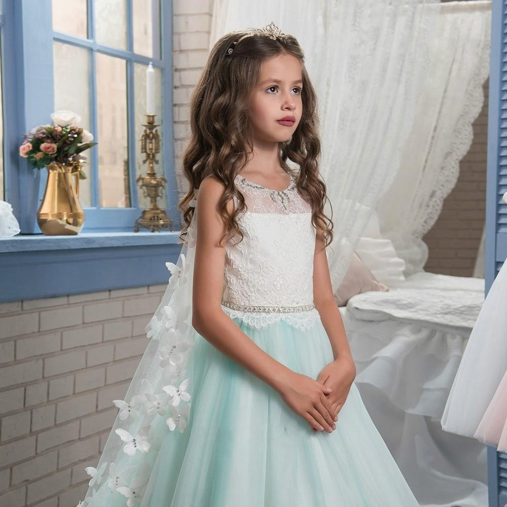 Princess Mint Green Lace Flower Girls Dresses For Wedding Party