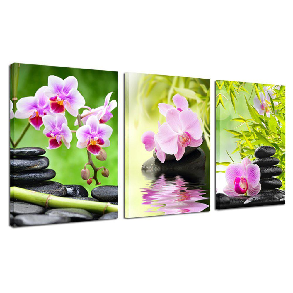 Purple Orchid Flower Bamboo Stone 3 Pieces Giclee Art Work Canvas