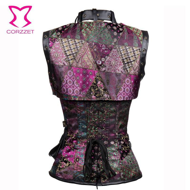 Purple Sexy Steampunk Corset Gothic Clothing Steel Boned Corsets