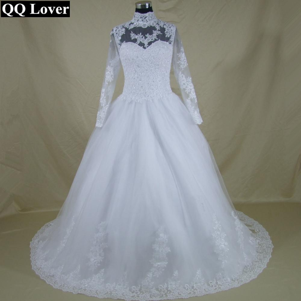 QQ Lover High Neck IIIusion Back Long Sleeve Wedding Dress Lace Ball ...