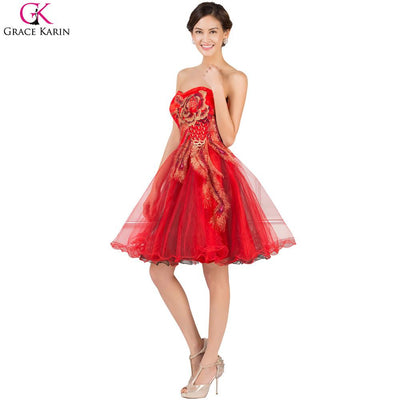 7b57d3b20cc Red Grace Karin Cocktail Dresses 2017 Cute Tulle Beaded Black Peacock Dress  Party Strapless Yellow Short