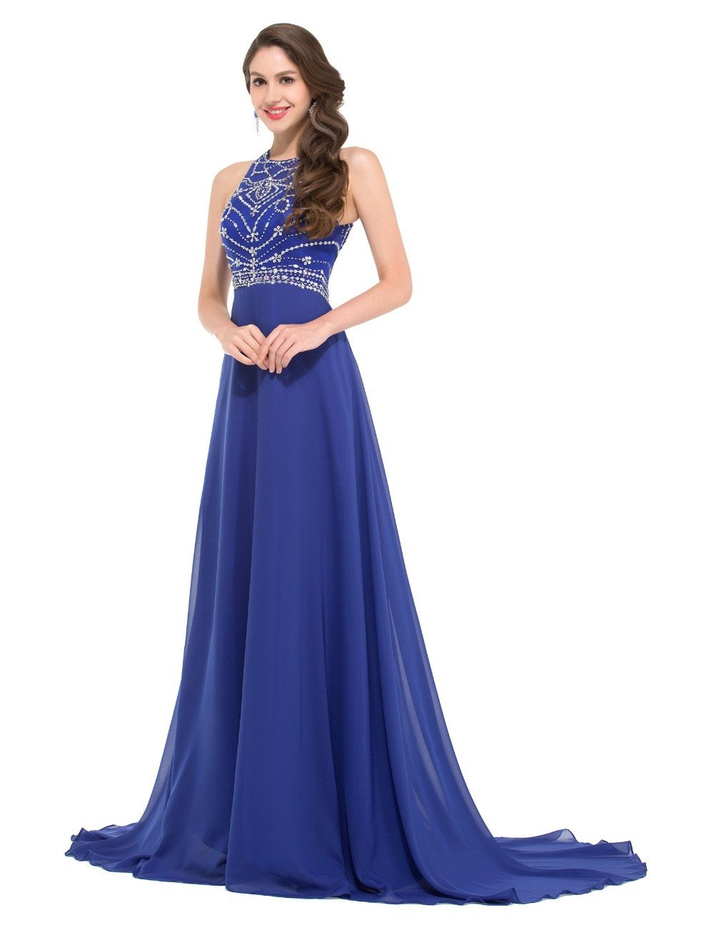Rhinestone Evening Dresses Long Train Royal Blue Gown Women Formal ...