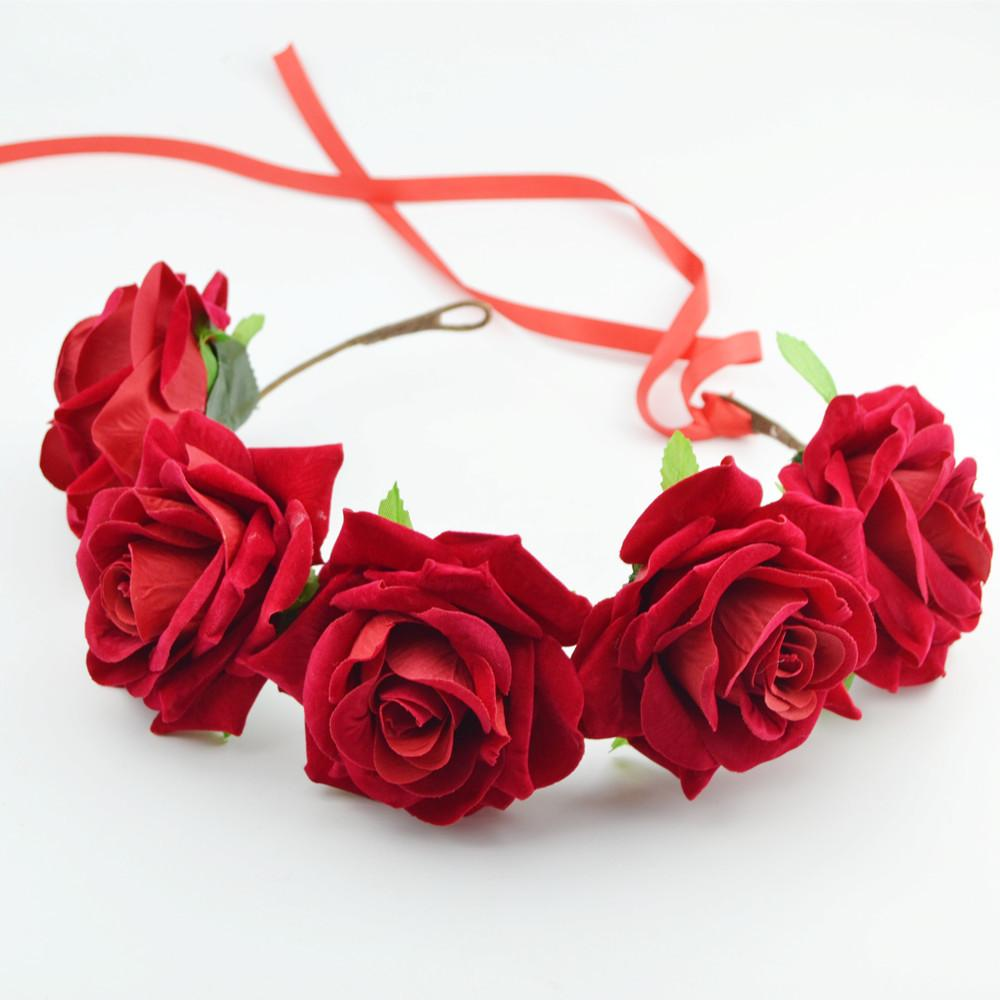 Rose Flower Headband Flower Crown For Bridesmaid Garland Floral