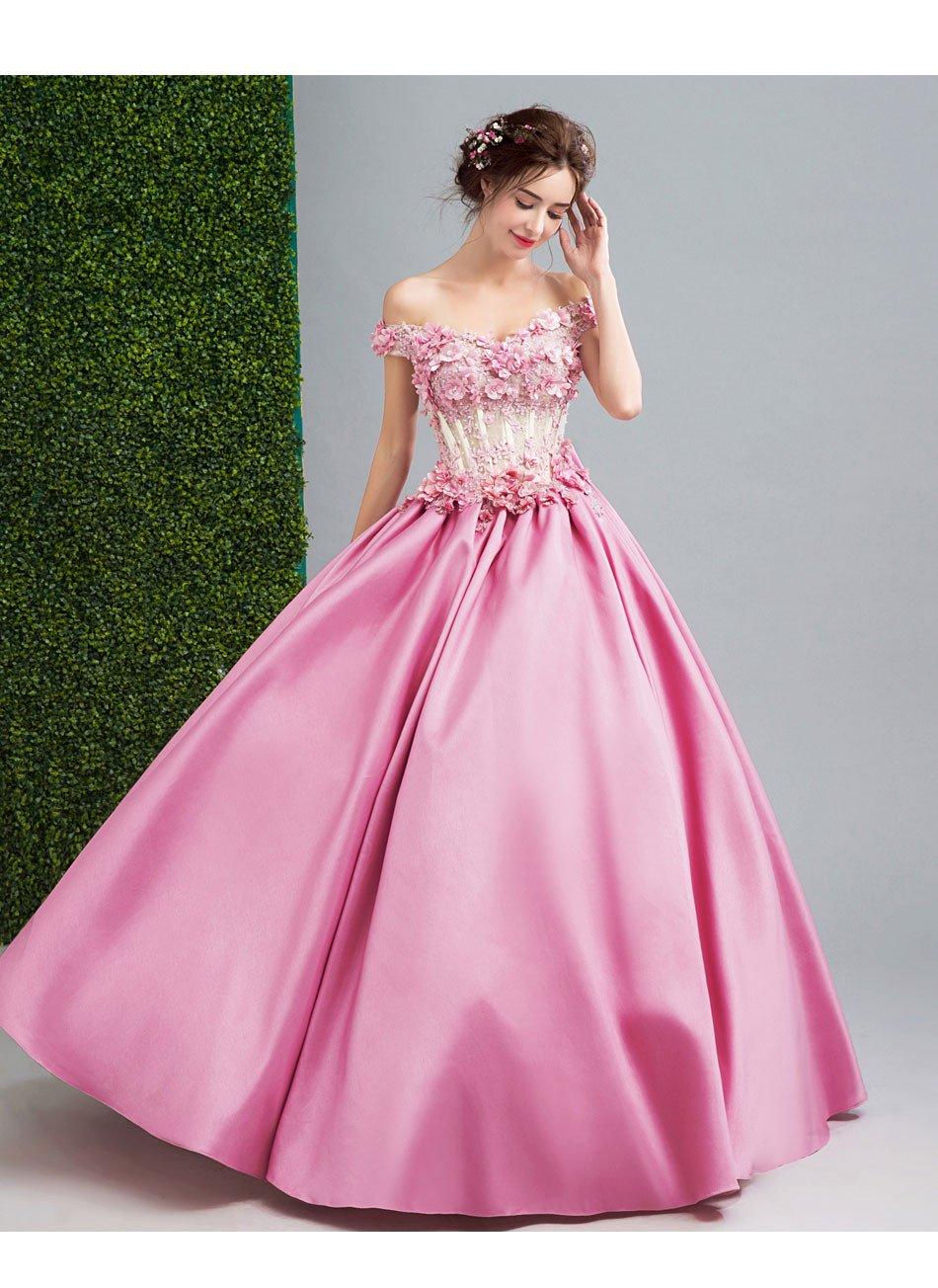 Ssyfashion 2017 New Luxury Pink Satin Lace Flower Prom Dress The