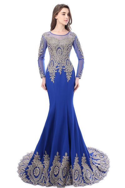 Sexy O Neck Black Mermaid Gold Lace Evening Dresses 2017 Long Sleeve