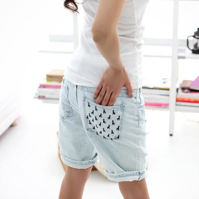 761c794168092 Sokotoo Women s loose jeans holes dog pocket denim capris plus size roll up  hem shorts new