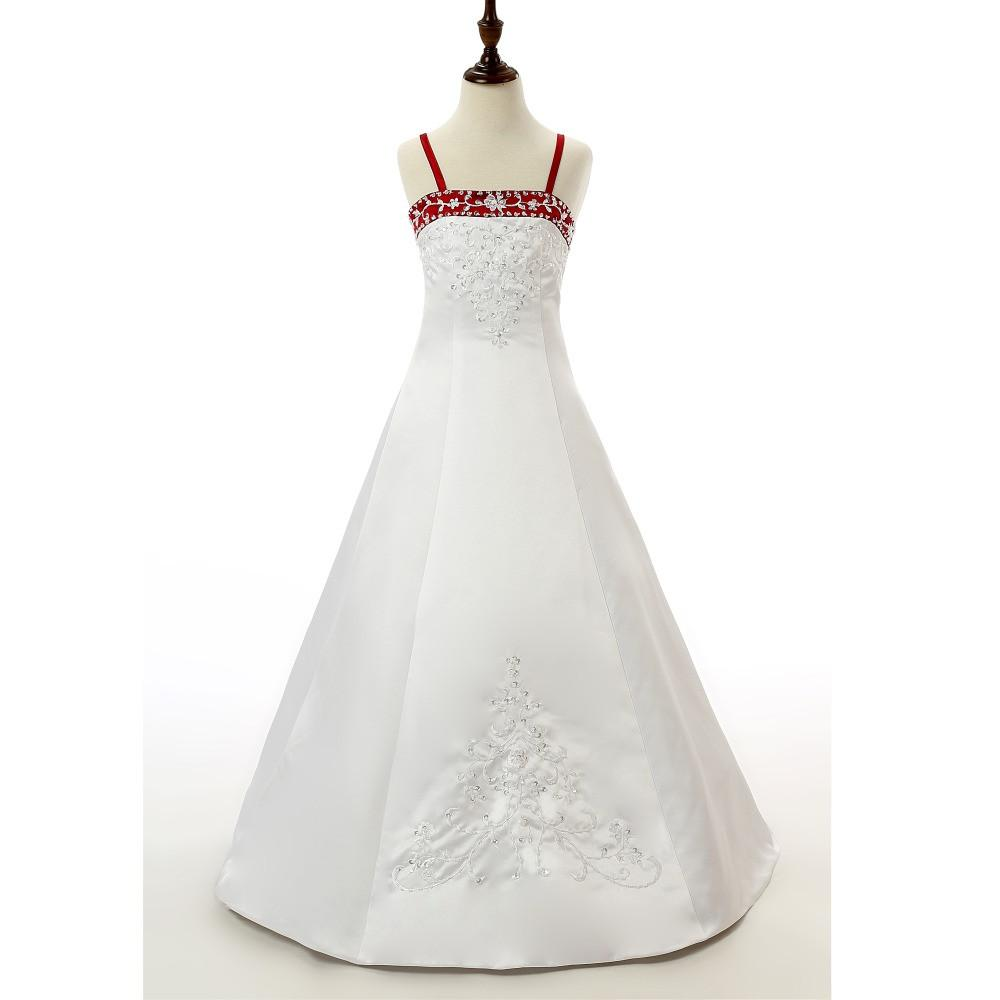 Spagetti Straps White And Red Flower Girl Dresses For Girls Wedding