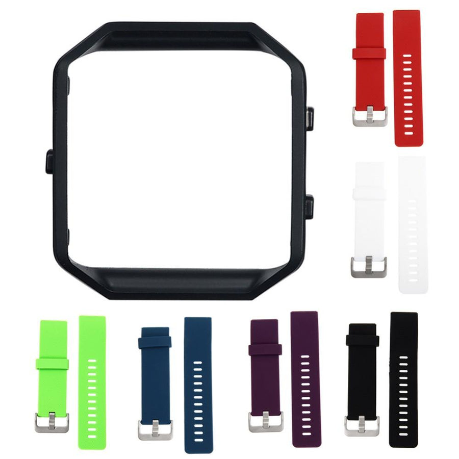 Stainless Steel Black Frame+Soft Silicone/Rubber Wrist Watch Band Replace Sport Strap For Fitbit Blaze Smart Watch