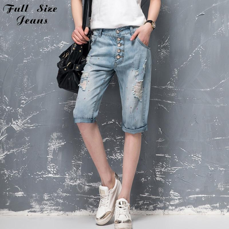 8177c55d96 Summer Plus Size Bermuda Shorts Feminino Washed Ripped Denim Capris Jeans  Femme Boyfriends Ripped Jeans Short