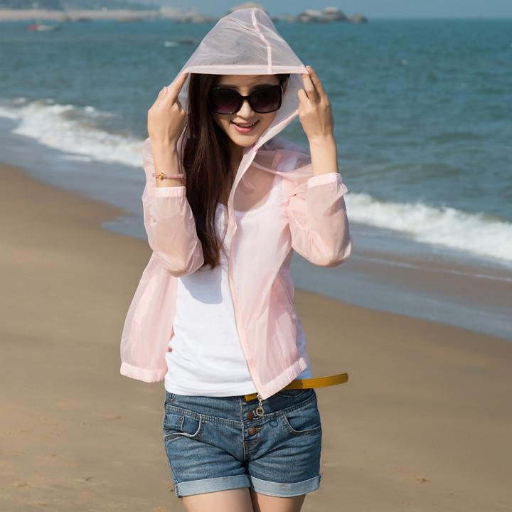 Summer women Sun Protection candy clolor Ultra Thin Jacket  Beach ladies Sunscreen anti UV Coat Hooded zipper Transparent shirts