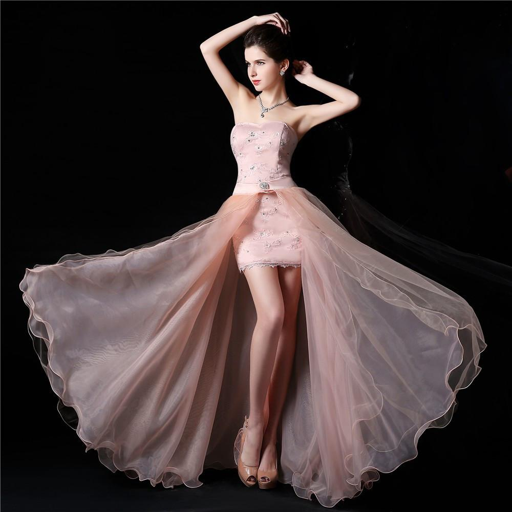 Sweetheart Sleeveless high low elegant white pink lace Party Gown ...