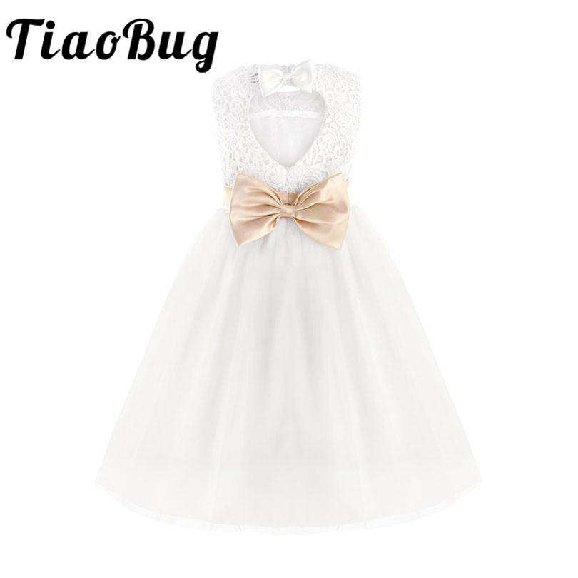 Tiaobug White Lace Flower Girl Dresses Kids Pageant Birthday Formal