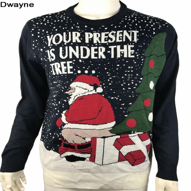 funny ugly christmas sweaters for men and women knitted naughty dirty jokes puns pullover xmas sweater - Dirty Christmas Sweater
