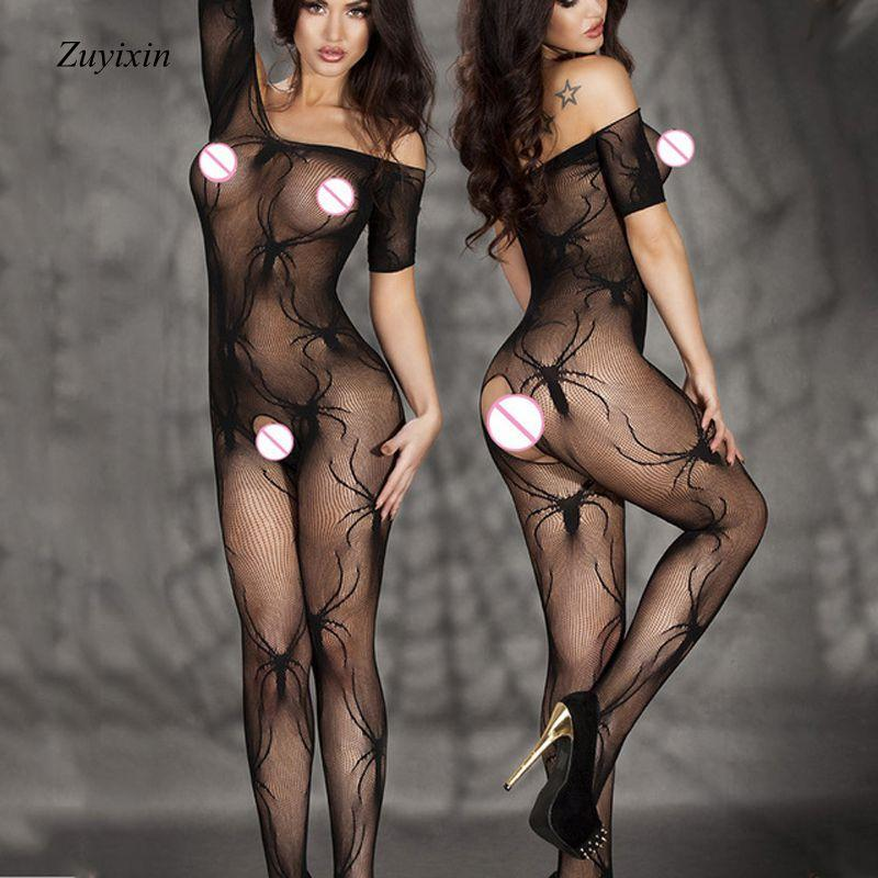 Zuyixin New Black Spider Open Crotch Stockings Fishnet Sheer Bodystockings Sexy Lingerie Hot Sexy Bodysuit Women Erotic Lingerie