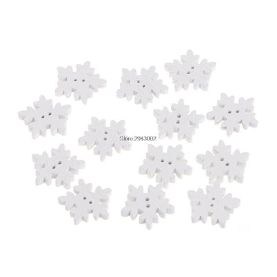- 100Pcs/lot 2 Holes Snowflake Wooden Buttons Handmade Sewing Scrapbooking DIY Craft -   jetcube