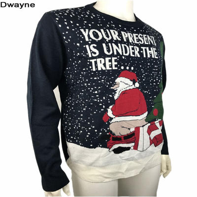 funny ugly christmas sweaters for men and women knitted naughty dirty jokes puns pullover xmas sweater - Dirty Christmas Sweaters