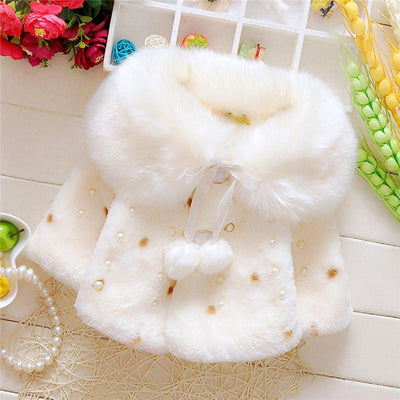 - 0-3T Infant Kids Girls Clothes Hot sell Long Sleeve Fur Warm Coat Toddler Baby Pearl Fleece Jacket Outwear Girls Clothing - White / 12M  jetcube