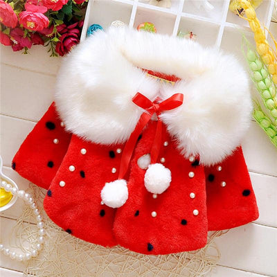 - 0-3T Infant Kids Girls Clothes Hot sell Long Sleeve Fur Warm Coat Toddler Baby Pearl Fleece Jacket Outwear Girls Clothing - Red / 12M  jetcube