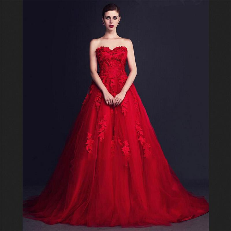 Vestido 3D- Applique Red Evening Dresses A Line Sweetheart Lace ...