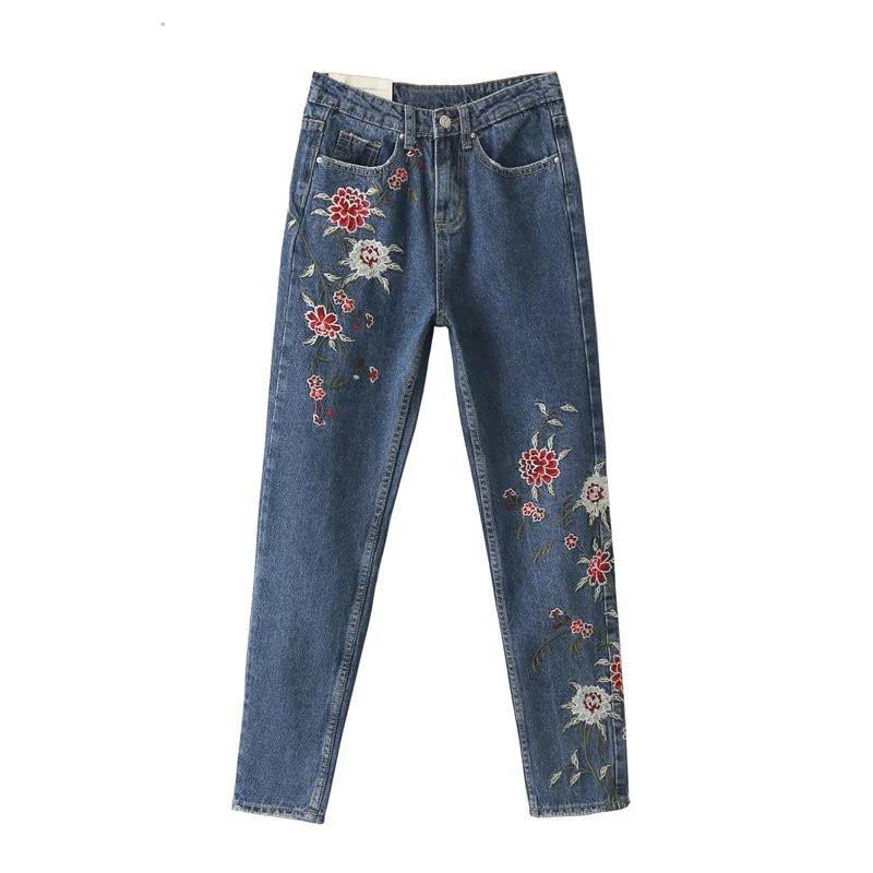 Vintage Fashion Flower Embroidery Brand Women Jeans Plus Size High Waist Denim Pants Casual Ankle-Length Ladies Pant 63386