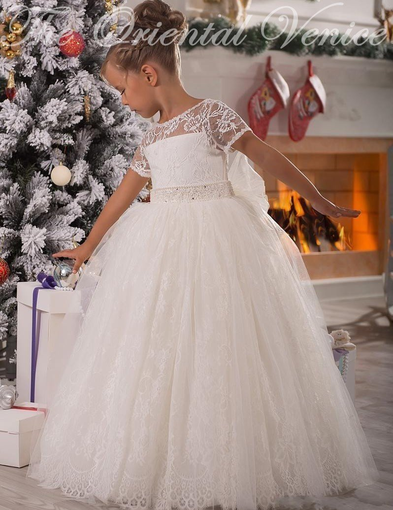 White Lace Ball Gown Flower Girls Dresses For Weddings Lovely Bow ...