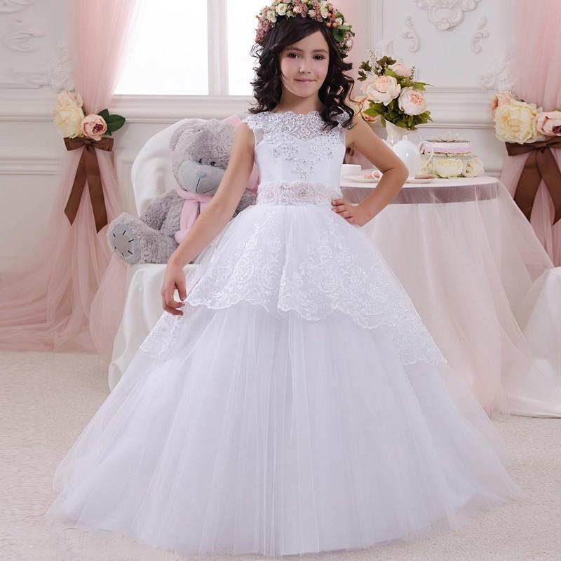White Lace Ball Gowns Wedding Gowns For Flower Girls Beaded Tulle ...