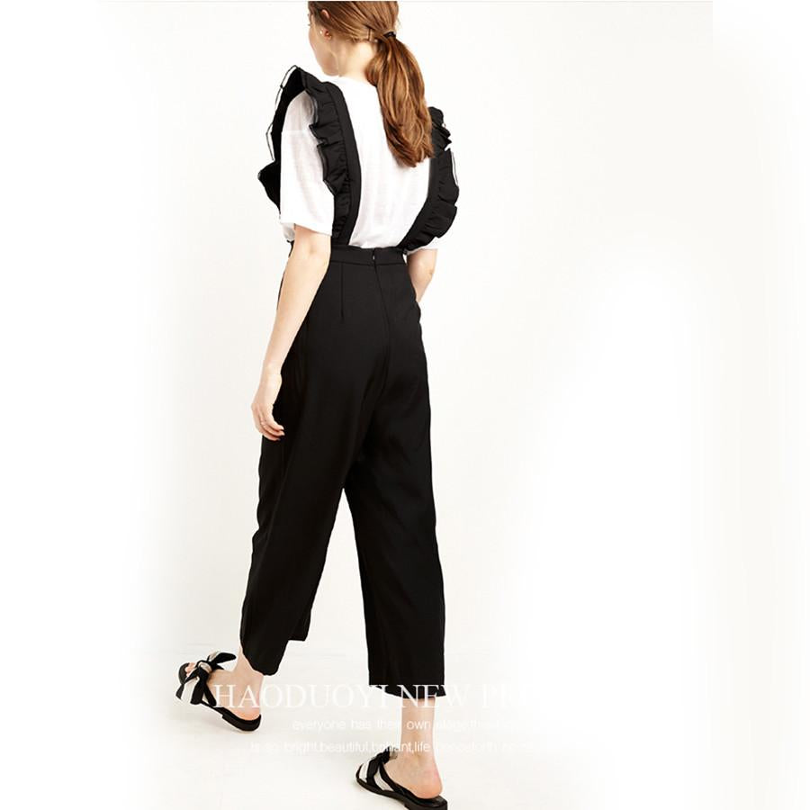 Women Black Ruffles Long Jumpsuit Elegant Office Rompers 2016 Summer Anime Culottes Fashion Girl Preppy Style Overalls Casual