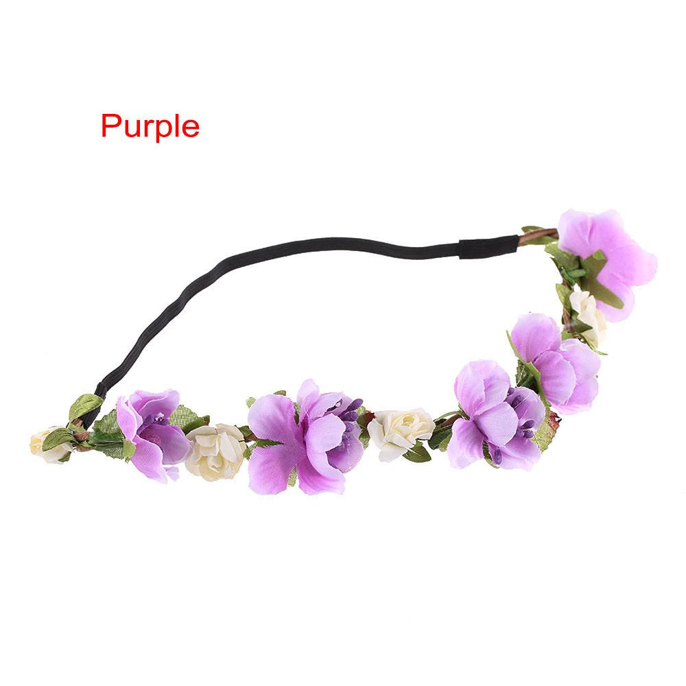 Women Bohemian Flower Headband Handmade Floral Crown Hairband Party