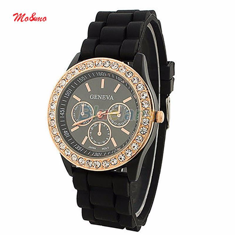 Women Ladies Watch Girls Geneva Silicone Quartz Golden Crystal Stone Jelly Wrist Watch
