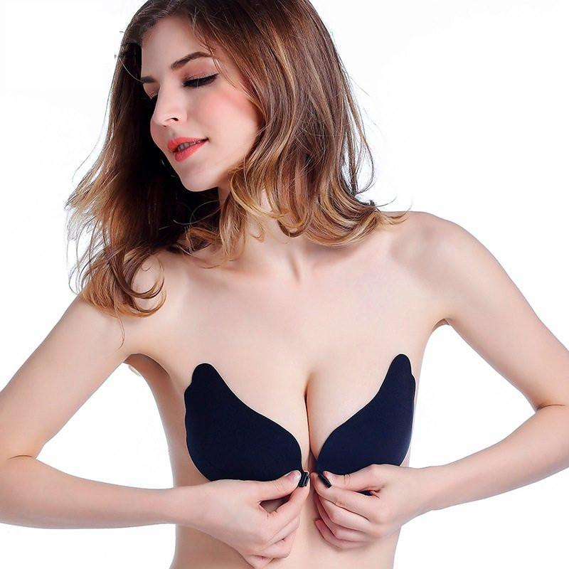 Women Push up Sexy Invisible Adhesive Gel Strapless Backless Bra Silicone Bras Front Closure sticky Plus size Bra A B C D E Cup