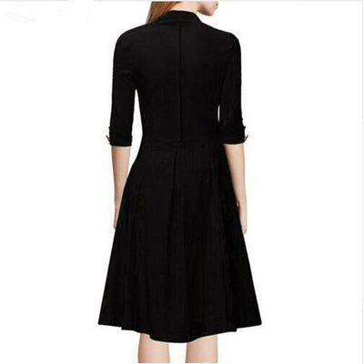 Women Retro Pleated Dresses Audrey Hepburn 50s Draped Plus Size Vintage Dresses Summer 34 Sleeve V Neck Slim Vestido De Festa