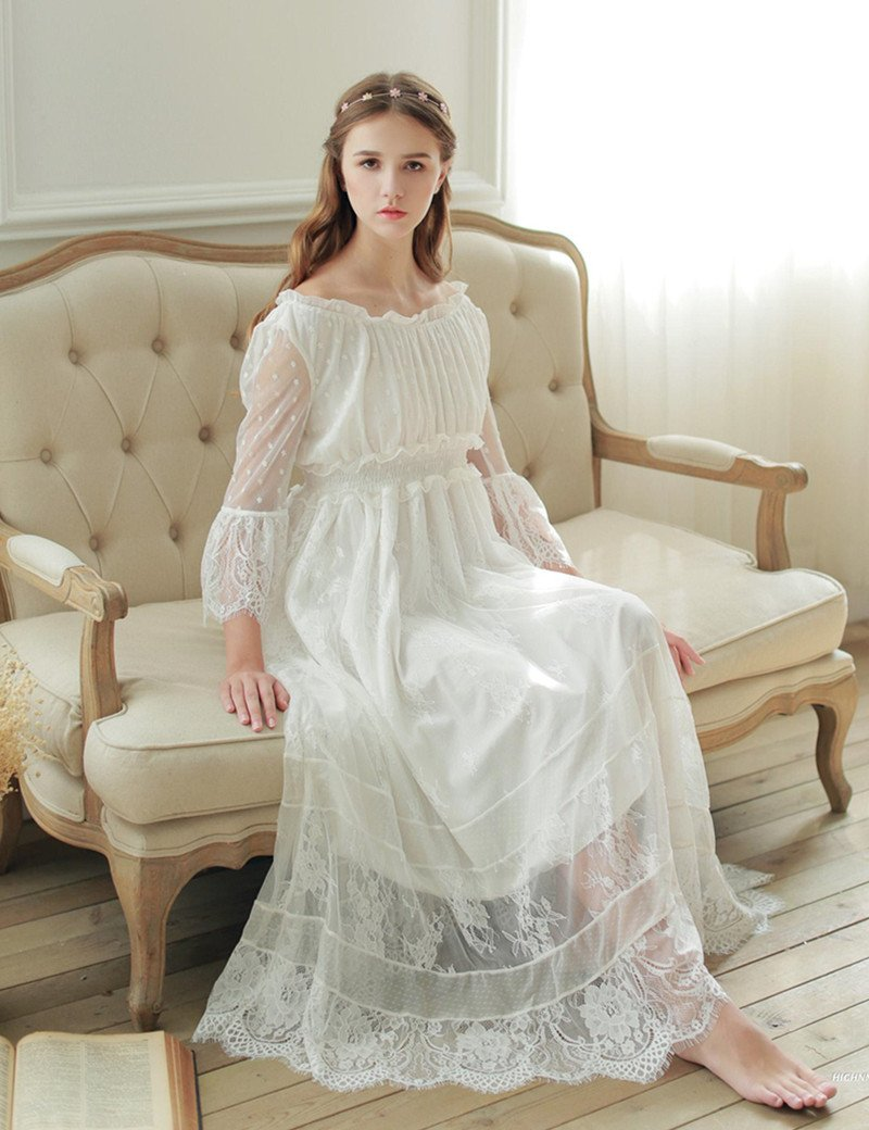 02d7d90ac3 Women sleepwear gown lace nightgown gorgeous elegant sleepwear princess  dress for women bridesmaid lace gowns high