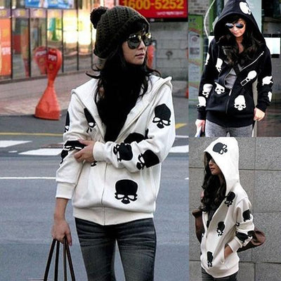 !  Women's Skull Zipper Sweater Hooded Cardigan Casual Hoodies Jacket Coat Tops - Jetcube