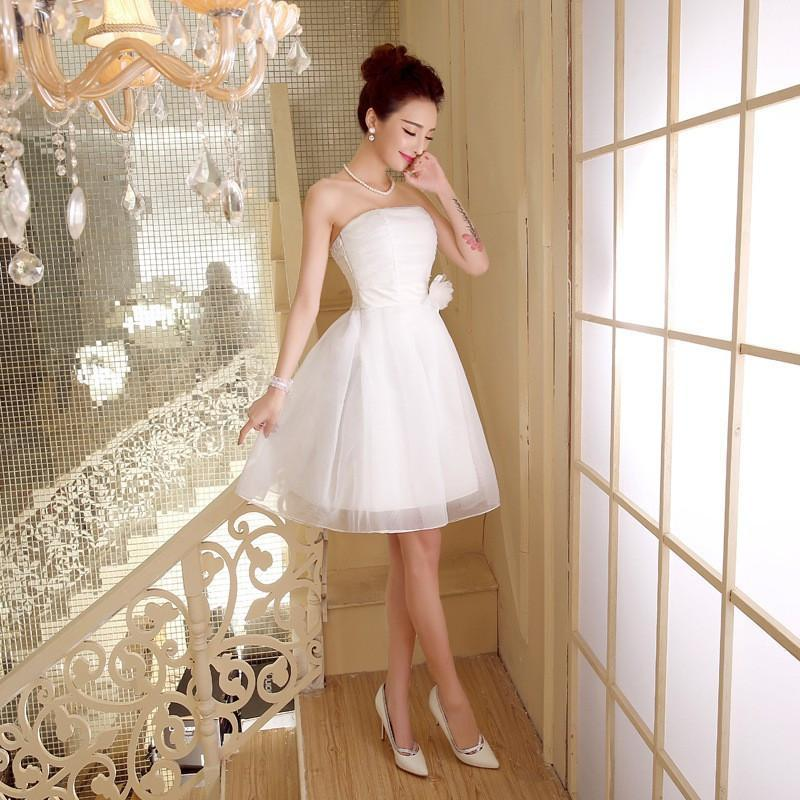 ZX558BS#wholesale 2016 new fashion short prom Bra toast the bride married red tutu performance bridesmaid dress white
