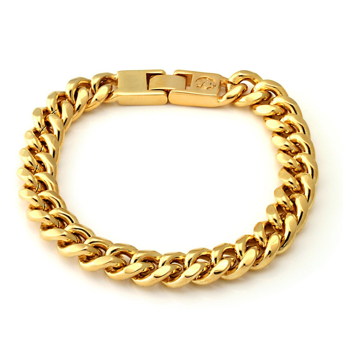 Bracelets - 10mm King Ice 14K Gold Miami Cuban Chain Bracelet -   jetcube