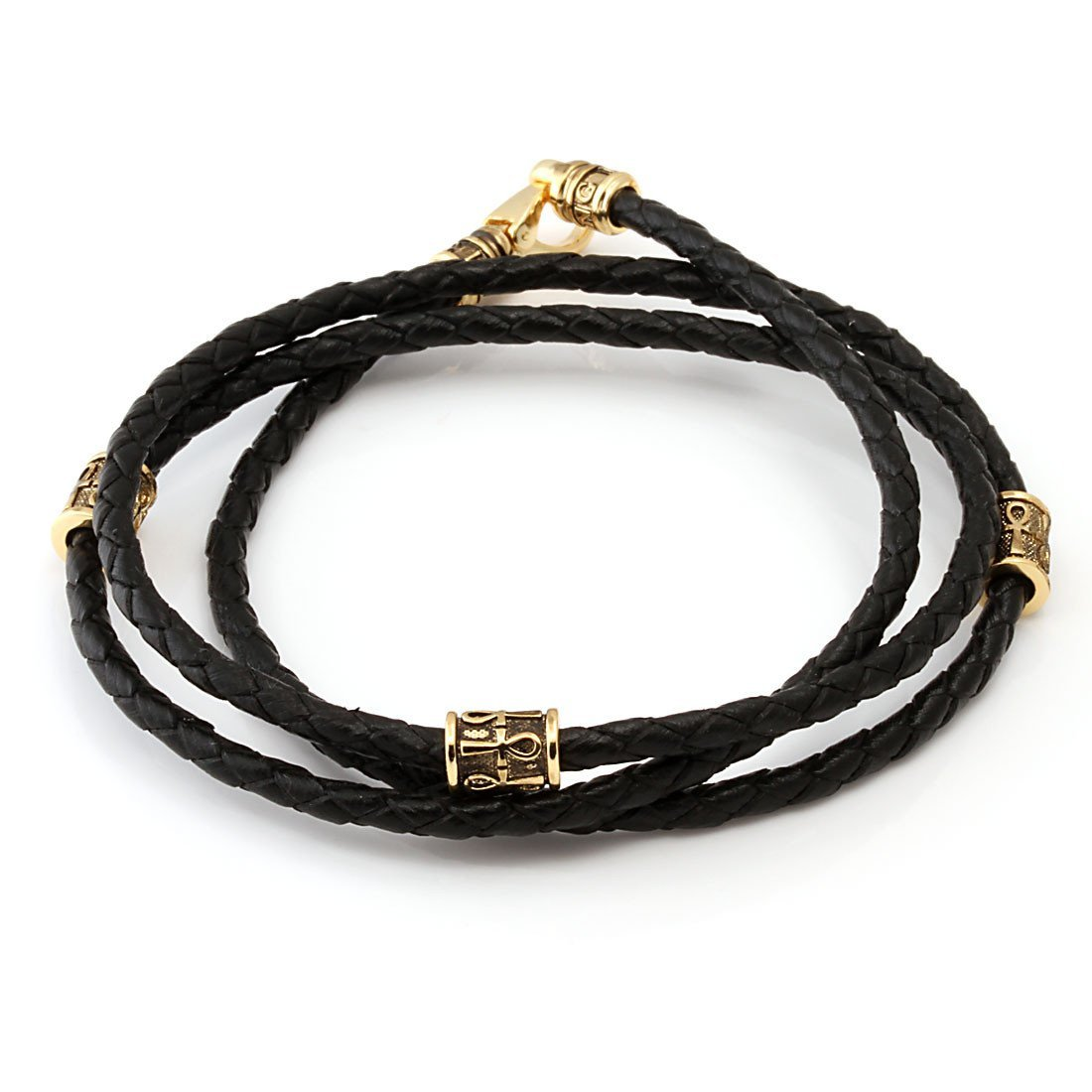 Bracelets - 14K Gold Apep and Ankh Leather Bracelet -   jetcube